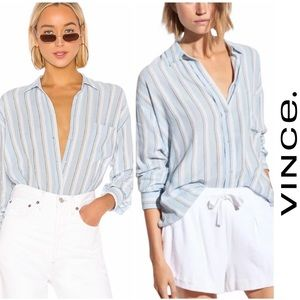 Vince Textured Stripe Boxy Button Down Surf Mist